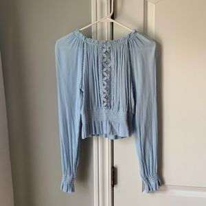 Baby blue smocked top